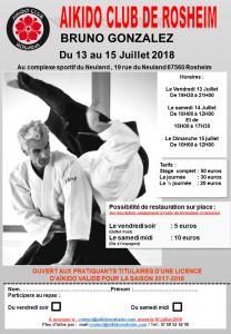 STAGE BRUNO GONZALEZ A ROSHEIM du 13 AU 15 JUILLET 2018 @ Complexe Sportif du Neuland | Rosheim | Grand Est | France